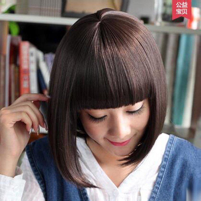 宫秀假发女士齐刘海短发波波头 短卷直发梨花头逼真女图片