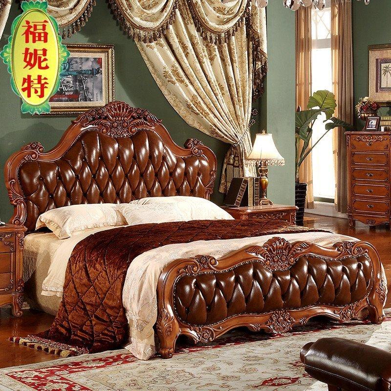 福妮特欧式卧室家具 真皮床