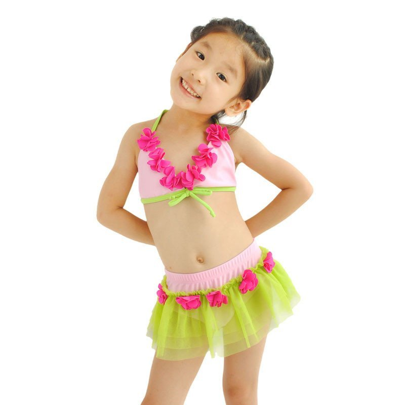 包邮 儿童泳衣女童比基尼三件套女孩分体裙式可爱公主