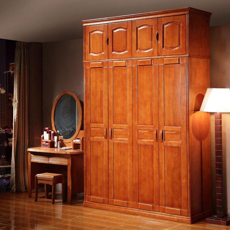祥融 中式现代实木衣柜 橡木23456门衣柜 卧室可加顶衣柜木质衣橱