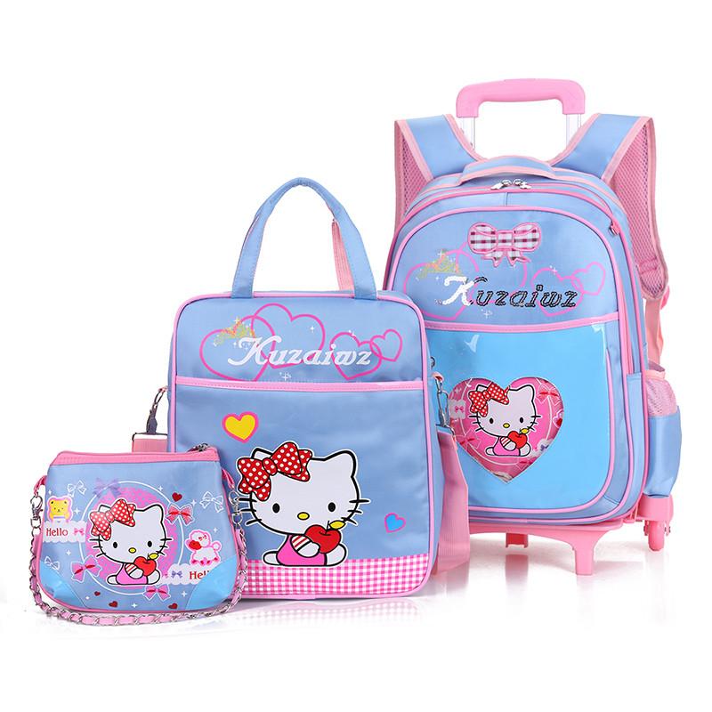 韩版小学生拉杆书包可拆卸减负透气3件套儿童书包小学生书包