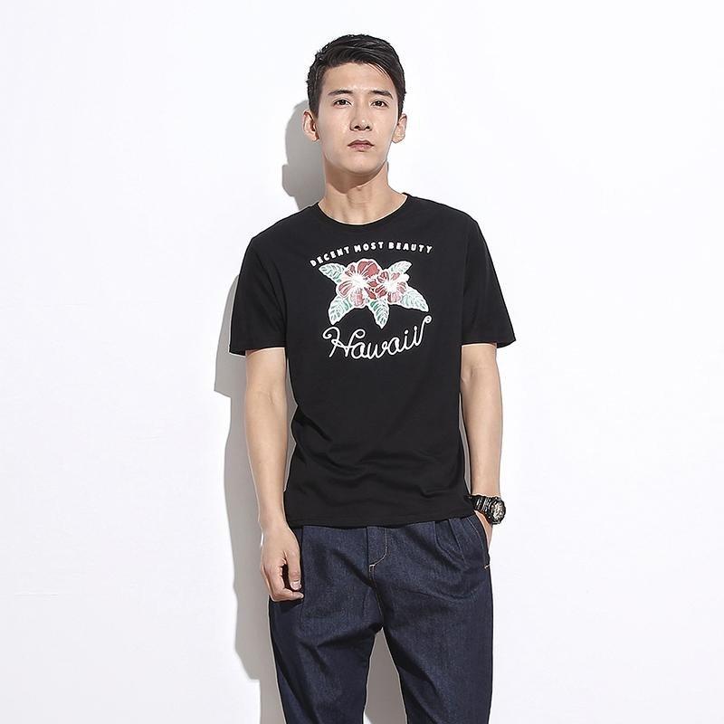 2016夏季新款原创一朵花印花纯棉短袖t恤男士