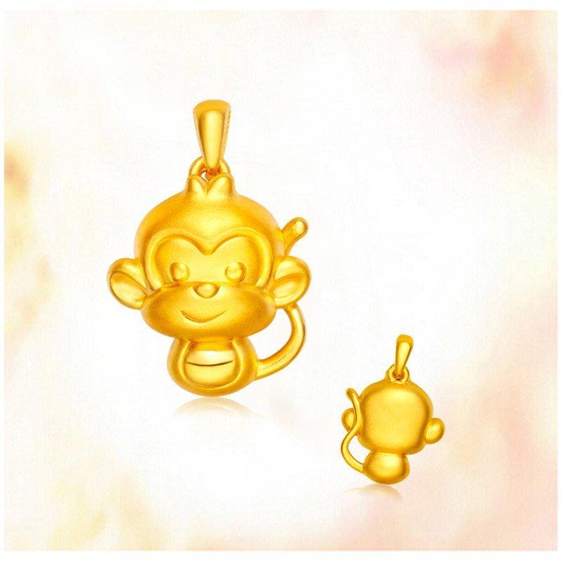黄金猴子吊坠囹�a_金匠世家 3d硬金生肖猴子黄金吊坠 属相坠子项链女款礼物饰品 可爱猴