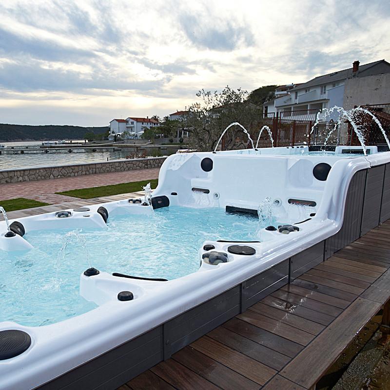 尚雷仕豪华时尚欧式户外spa泳池 家庭冲浪按摩浴缸亚克力长8米