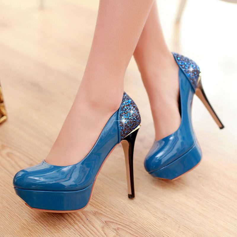 高跟单鞋2016新款女士夜店高跟鞋防水台细跟婚鞋水晶女式鞋子单鞋zlp