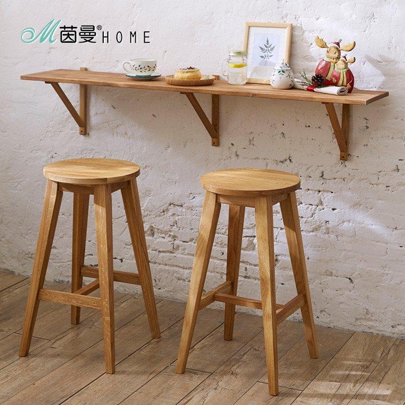 茵曼home物美实木酒吧椅创意高椅欧式吧台椅子木前台