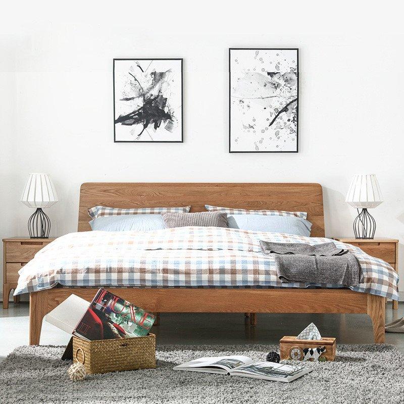 茵曼home 简约现代卧室日式床1.8米成人双人床实木床橡木床木板床