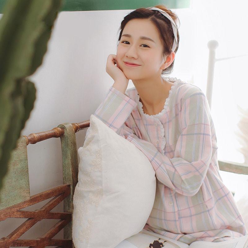 家时光秋款纯棉绒布月子服套装格纹孕产妇产后哺乳睡衣