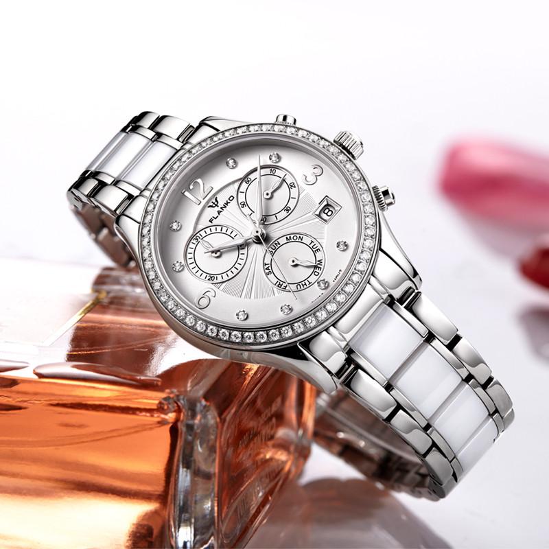 女朋��d�9b*�.��`f��,H9l#��@_flanko瑞士石英机芯手表女表蓝宝石镶石陶瓷时尚女士表腕表f-6002l-d