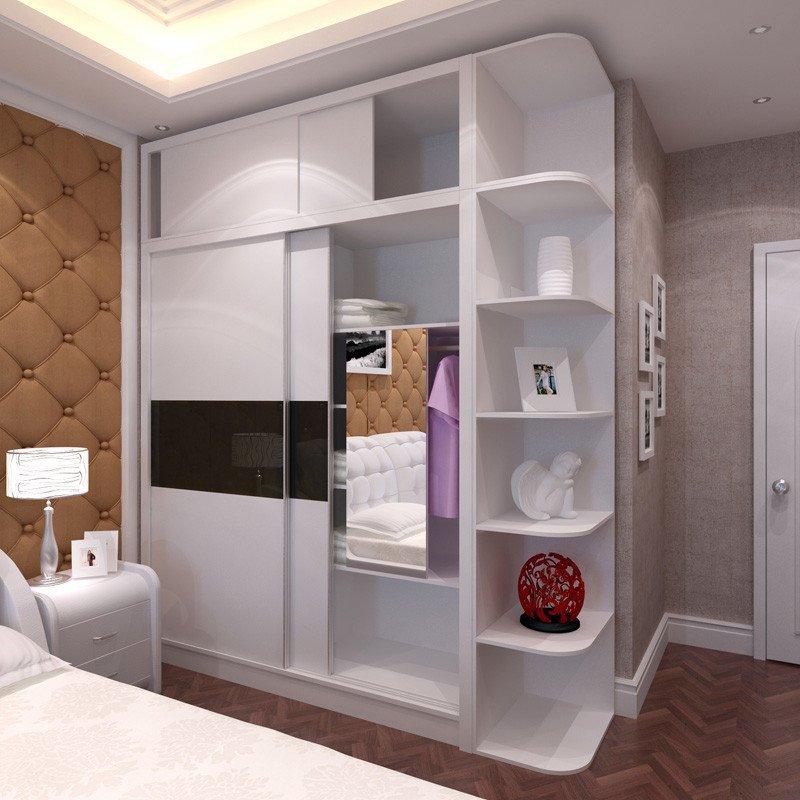 现代简约衣柜 带转角顶柜钢琴烤漆白色大衣柜 卧室家具实木板式衣柜图片