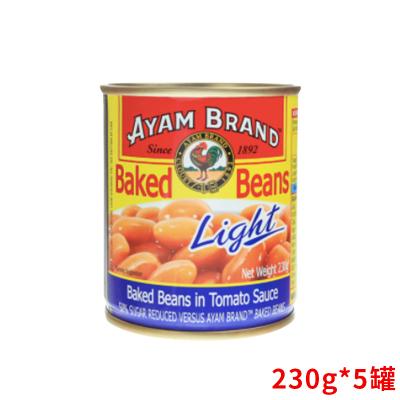 5罐裝▏ AYAM BRAND 雄雞標 茄汁焗豆 低糖份 230g 馬來西亞進口 罐裝 蔬菜罐頭 豆