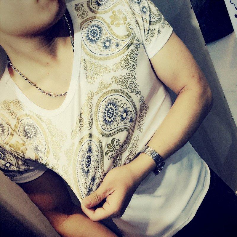 夜店潮男装夏季短袖t恤衫快手红人同款精神小伙圆领半袖t恤修身男