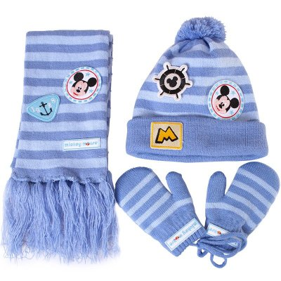迪士尼儿童帽子围巾手套三件套装男童女童秋冬保暖加厚宝宝针织帽