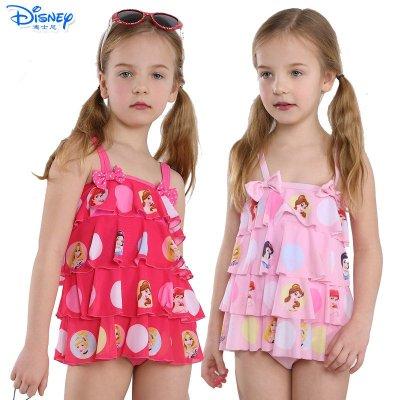 迪士尼(Disney)可愛寶寶游泳衣兒童公主泳裝溫泉泳衣女童可愛分體裙式泳衣
