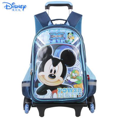 迪士尼(Disney)米奇公主儿童小学生1-6年级卡通三轮拉杆书包 DB96075-1A蓝色送笔袋