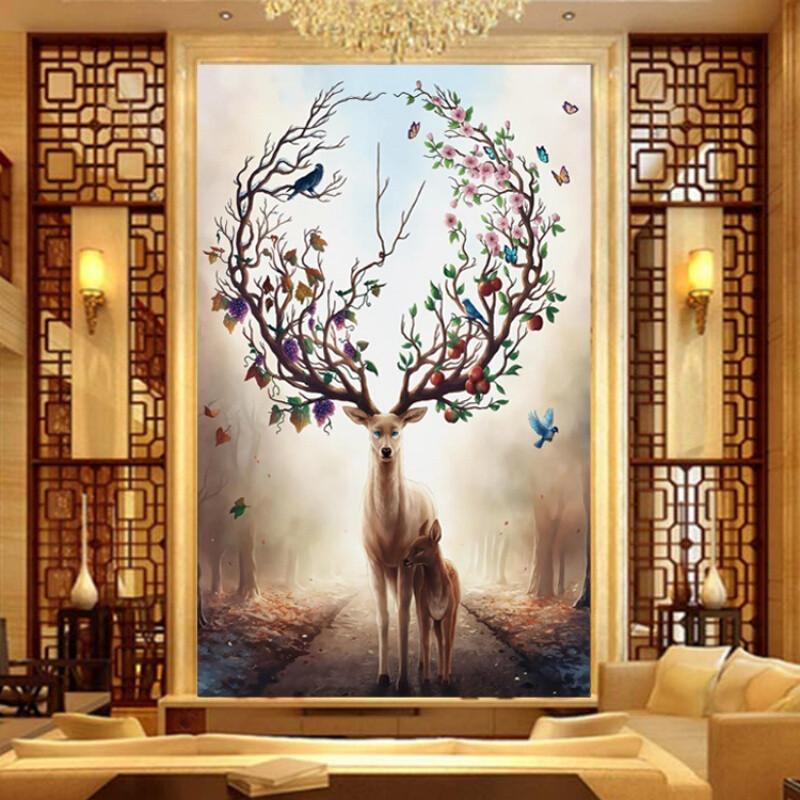 2017发财鹿刺绣100精准印花餐厅线绣十字绣客厅新款满