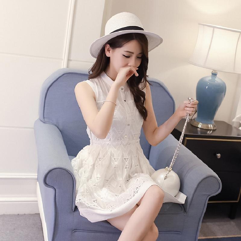 羊奈2016夏季新款甜美可爱气质蕾丝修身显瘦拼接女子连衣裙