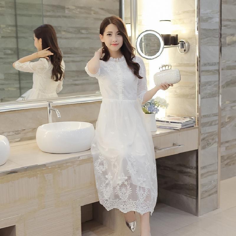羊奈2016夏季新款韩版七分袖白色修身蕾丝网纱仙女裙子