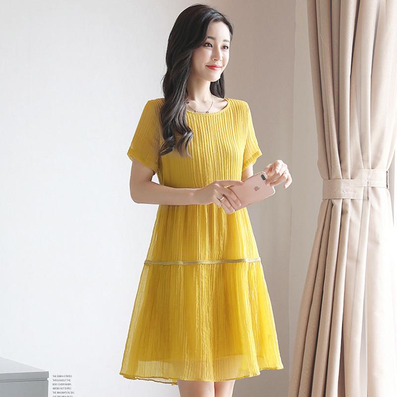 韩版中长款连衣裙女宽松