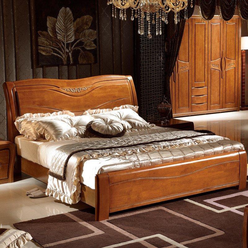 青木川 现代中式实木双人床 原木纯实木硬板床 中式简约新款双人床图片