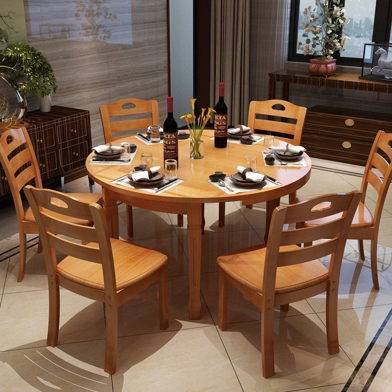 青木川 简约现代实木餐桌 可折叠伸缩 餐桌椅组合套装 1.2米小圆桌1.