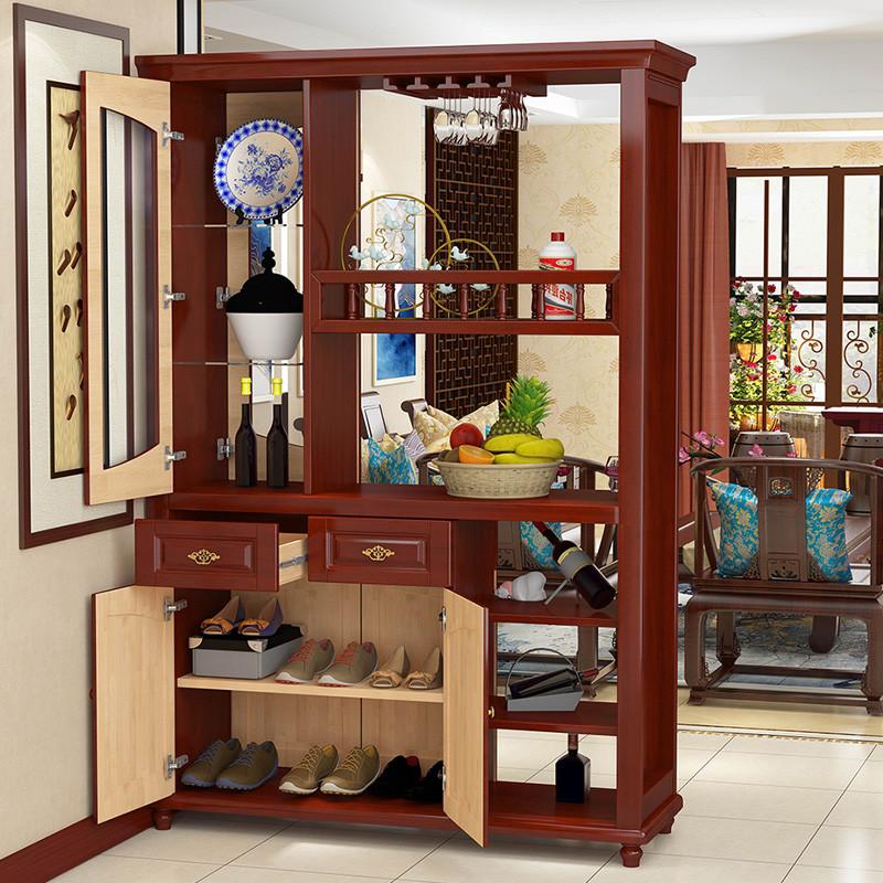 青木川 实木酒柜 酒架组合门厅柜双门双面 隔断柜玄关