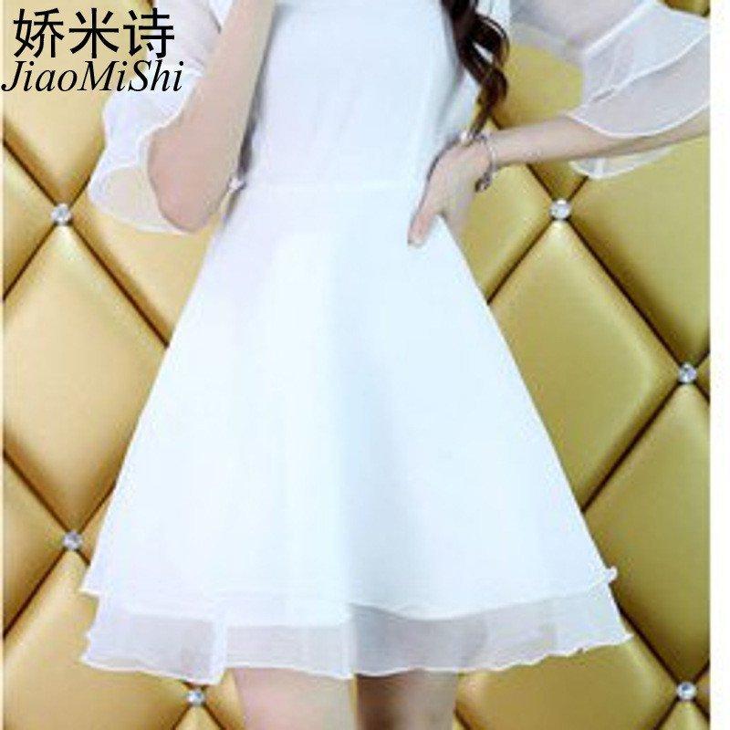 娇米诗2016夏季新款女装裙子白色甜美公主裙显瘦可爱蓬蓬夏天连衣裙