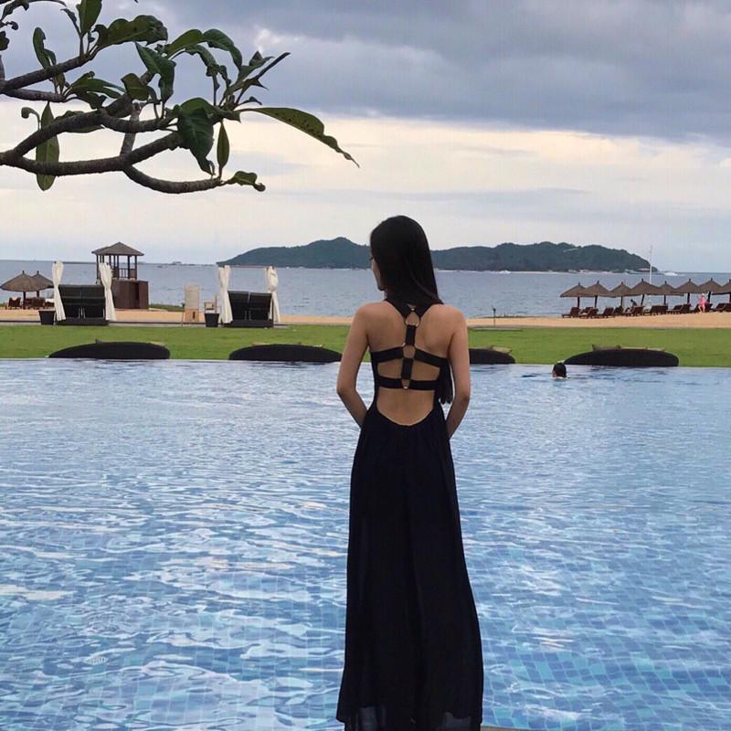 娇米诗2017春夏季泰国潮牌沙滩海边度假款女神露背显瘦黑色性感长裙