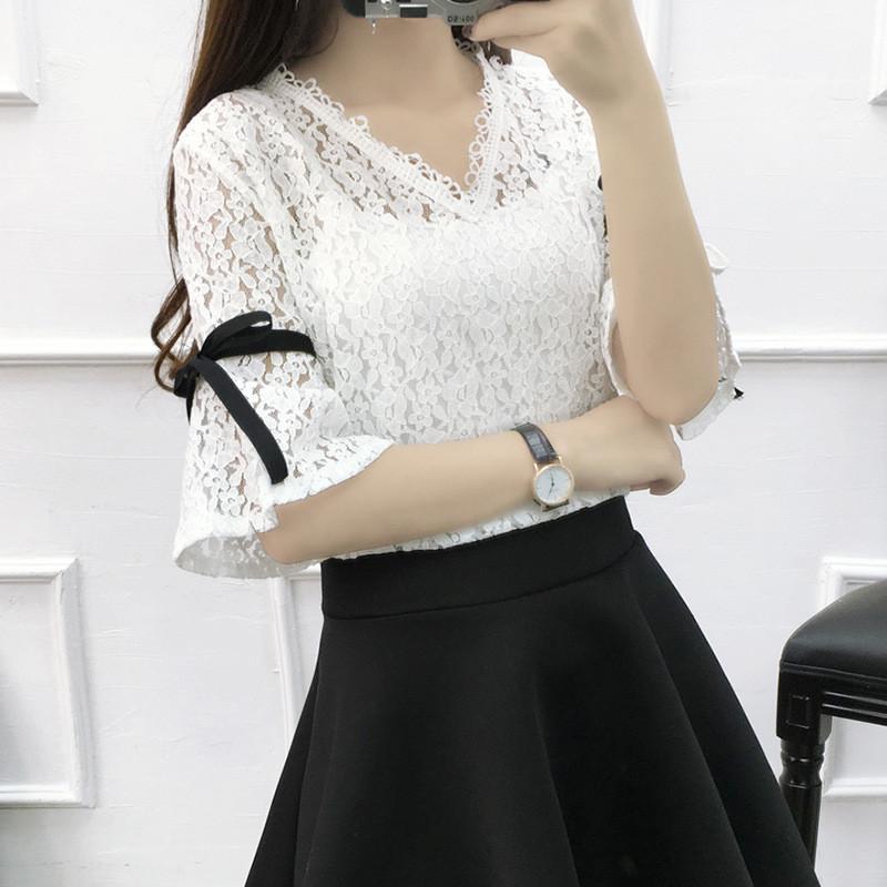娇米诗2017夏季蕾丝短袖打底衫韩版喇叭袖套头上衣服女两件套