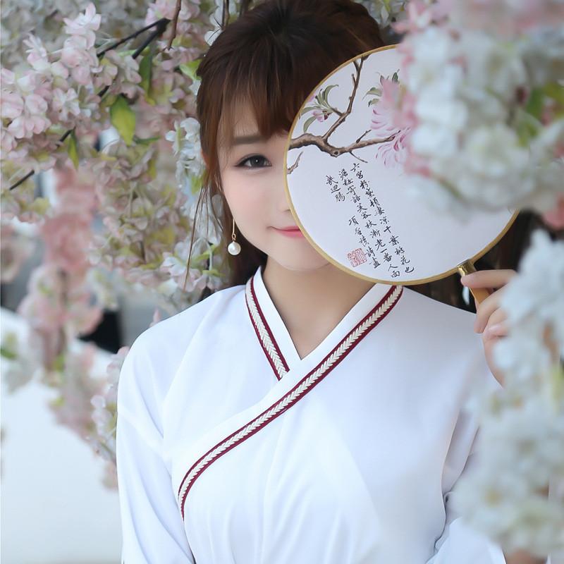 娇米诗2017夏季改良汉服古装女交领襦裙中国风古风日常汉元素乐瞳套装