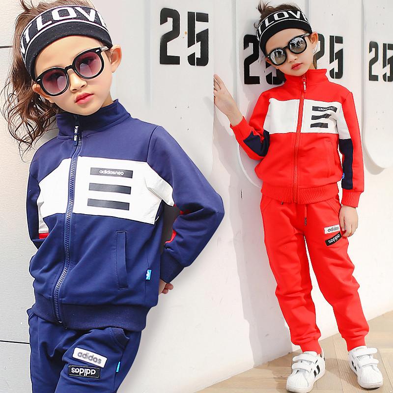 童装男童春秋装2017新款女童卫衣运动套装儿童春季服装韩版潮酷