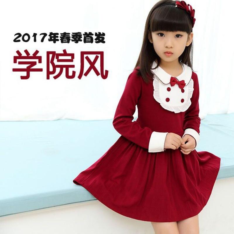 uyuk2017早春新款娃娃领纽扣甜美可爱女童长袖连衣裙