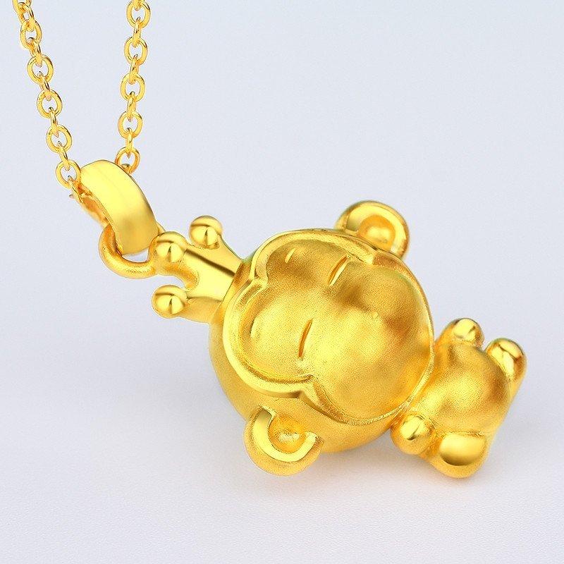 黄金猴子吊坠囹�a_蒂蔻黄金猴子吊坠金猴吊坠千足金3d硬金猴子生肖猴项链坠猴年小猴子