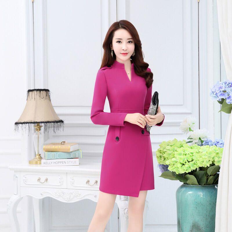 芭奴琳2017春秋新款韩版修身长袖连衣裙女装