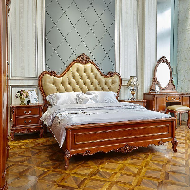8米美式实木床卧室家具真皮精美婚床 简欧实木床图片