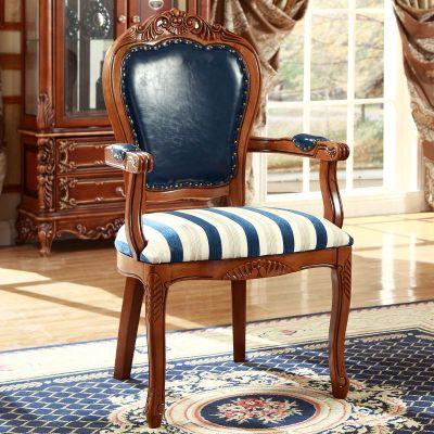 宮寓家具 歐式實木餐桌 新古典酒店麻將椅子靠背書房家用扶手椅子