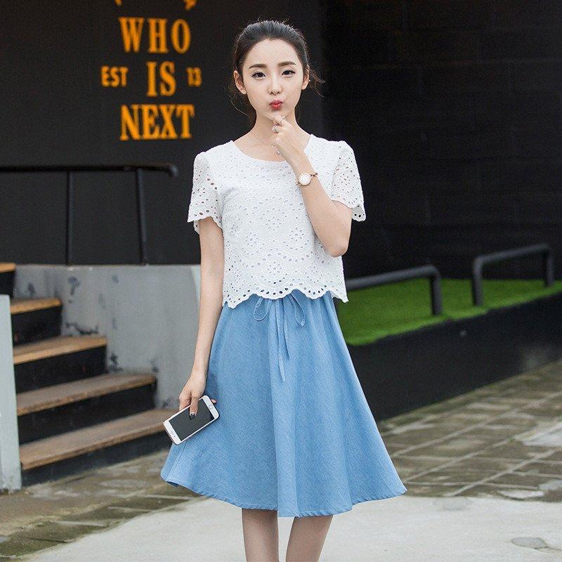 韩文2016新款中学生连衣裙夏装园领假两件初高中少女裙子n517图片