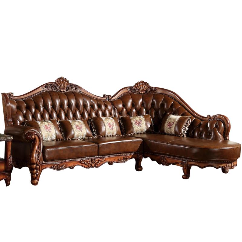 vvg 欧式转角真皮沙发 高档实木雕花美式沙发中小户型