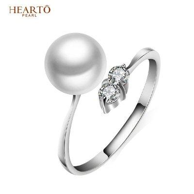 海瞳 925银淡水珍珠戒指 强光珍珠可调节戒指 送爱人 戒指珍珠