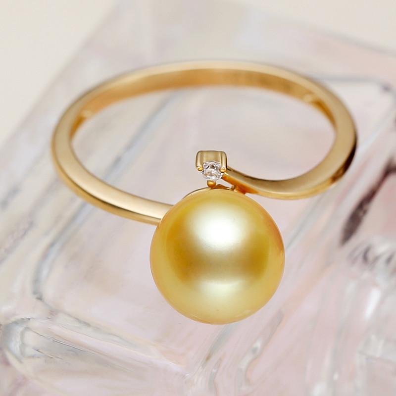 海瞳14k金南洋金珠戒指 简约款 正圆强光 金色海水珍珠戒指 开口 可