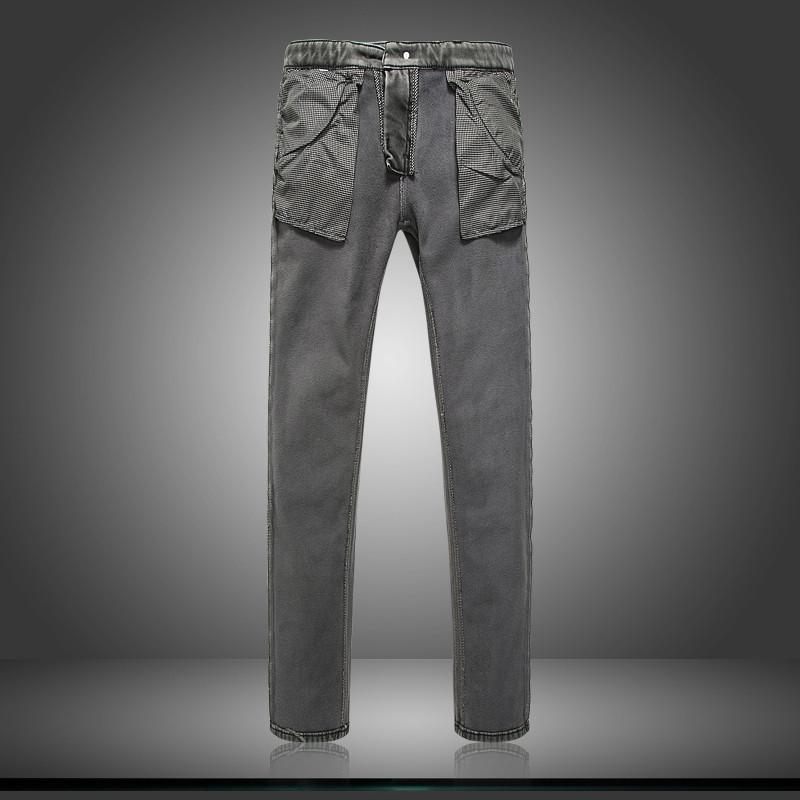 亦和秋冬新款男士灰色牛仔裤弹力加绒加厚修身小脚纽扣长裤