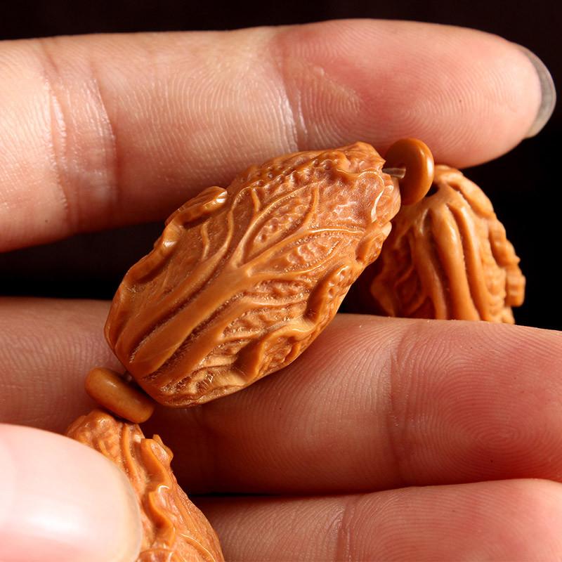 集祥阁橄榄核雕刻白菜手串橄榄胡单核精雕百财生意兴隆文玩手链