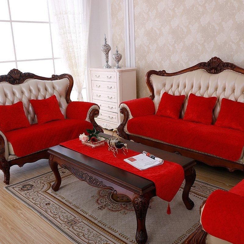 皮沙发垫坐垫子套罩沙发巾飘窗垫可定做包邮欧式毛绒纯色红色喜庆结婚