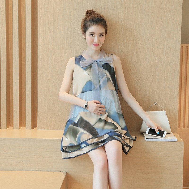 琳朵儿2016夏季新款欧根纱时尚印花无袖连衣裙韩版宽松a字娃娃裙