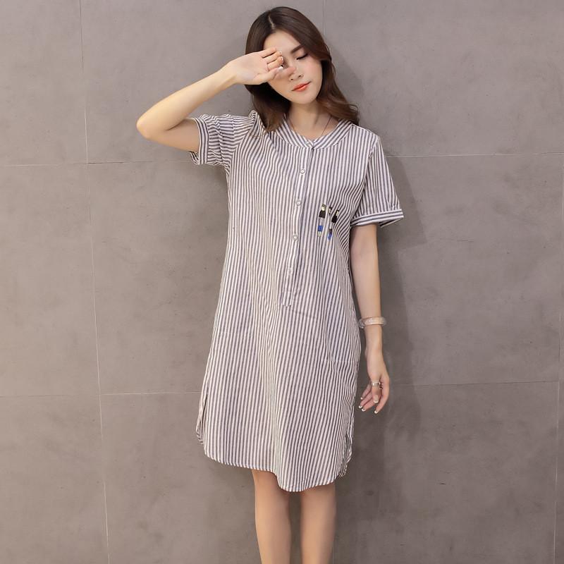 琳朵儿大码条纹衬衫女宽松棉质短袖薄上衣夏装衣服女显瘦