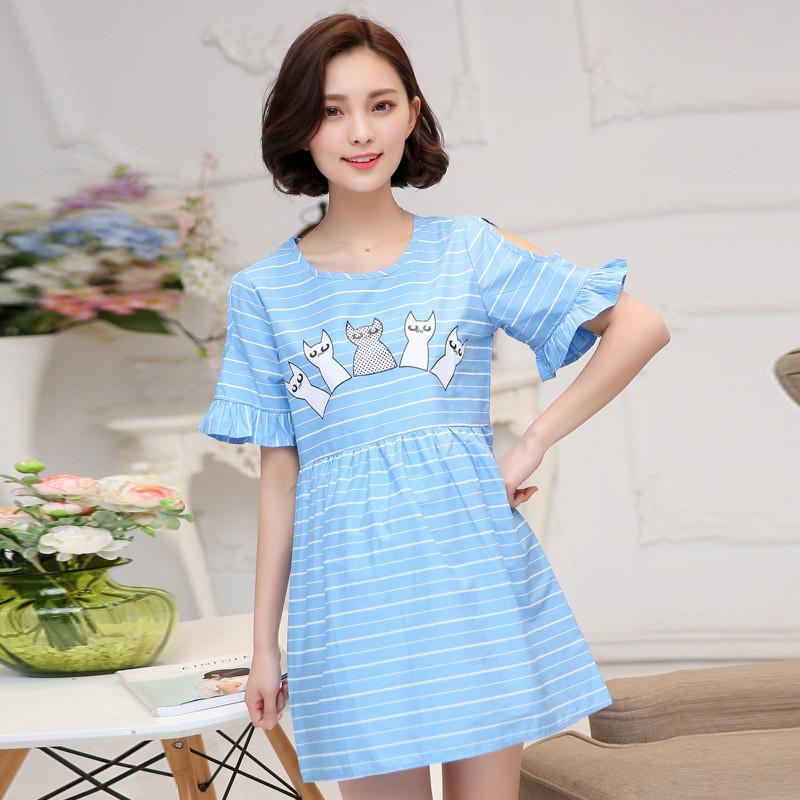 琳朵儿2016新款孕妇装夏装短袖韩版条纹可爱印花连衣裙