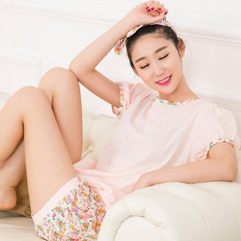 苏吉思女士睡衣 棉 夏季短袖韩版可爱睡衣 女式圆领家居服 休闲短裤睡