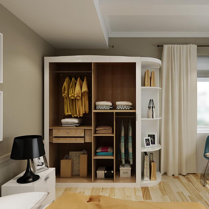 明佳友 实木衣柜卧室储物柜橡胶木四门简约现代中式转角家具