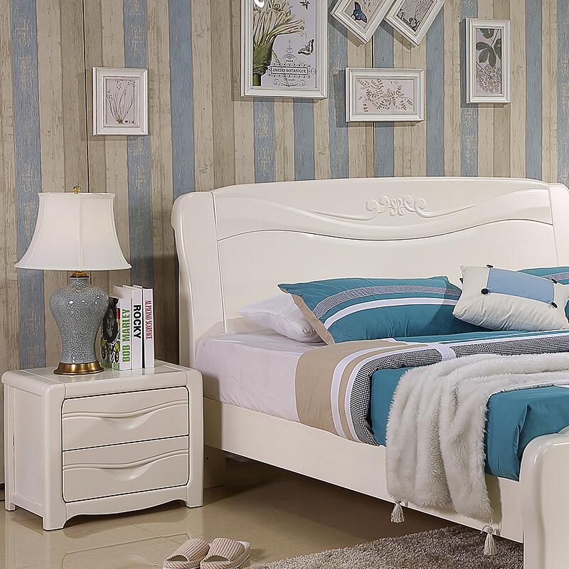 明佳友 床头柜实木框架床头柜简约白色田园床边柜百搭