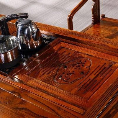 忆斧至家 仿古茶台 茶桌椅组合 实木茶几 大茶盘榆木